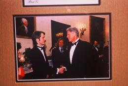 Shakin' the hand of President Clinton.